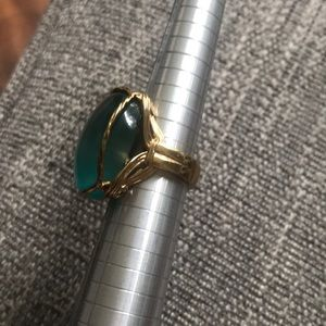 Jewelry - Cat Eye Large Gold Tone Ring Size 8